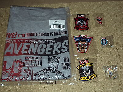Funko, Marvel Collector Corps. 3 Badges & 3 Pins, Iron Man Vs Ultron Xl T-Shirt