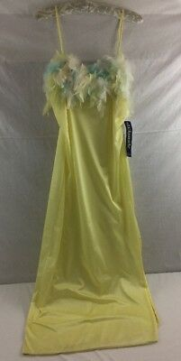 Vintage Triangle Pastel Feather Nightgown Yellow NEW Size M