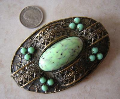 SUPERB VINTAGE ART DECO CZECHOSLOVAKIA PEKING JADE STATEMENT BROOCH PIN 1930s