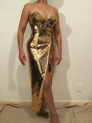 Strapless Gold Sequined Dress