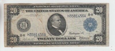 Federal Reserve Note $20 1914 vg stains