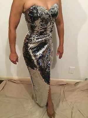 Strapless Silver Sequined Dress