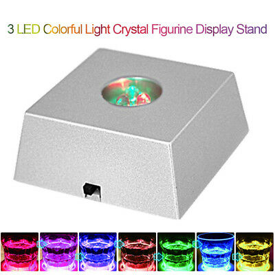 Delicate 3 LED Light Crystal Figurine Display Stand Crystal Light Base Ornaments