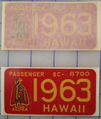 1963 Red Hawaii Authentic King Kam Window License Retro New Mint