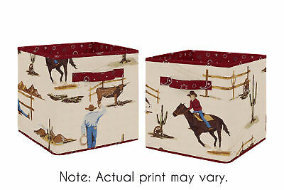 Tan and Red Cowboy Wild West Foldable Fabric Storage Cube Bins Boxes - 2pc Set
