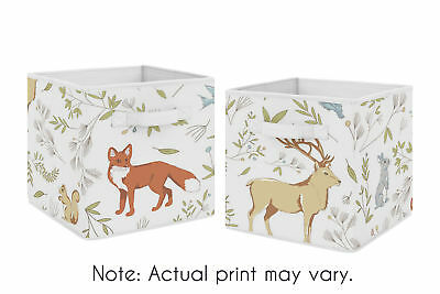 Woodland Animal Toile Foldable Fabric Storage Cube Bins Boxes Kid Baby - 2pc Set