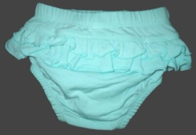 Cotton Girl Nappy Cover with Frill - Bleach Aqua 0000 000 Baby Frill Back Pants