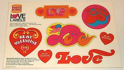 Burger King 1970s LOVE LABEL mod VALENTINE'S DAY STICKER SHEET fast food premium