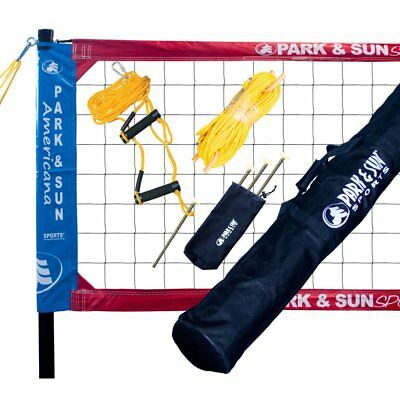 Park & Sun Spectrum Classic Volleyball Net System - Red/White/Blue NEW