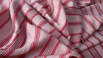 French antique long oure linen in pale pink dark pink stripes chevron weave 1890