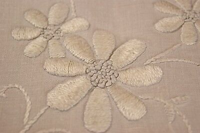ANTIQUE/VINTAGE LINEN TABLECLOTH Whitework Embroidery Flowers Drawn Thread T18