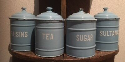 Antique Vintage Enamel Soft Blue Four Canisters Set with Lids ~ from England