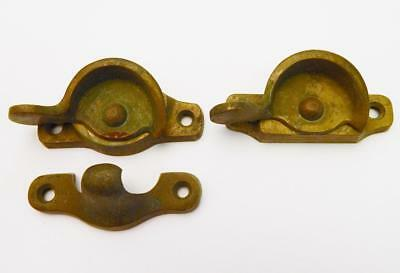 2 Old Vintage Antique Sold Brass Window Sash Locks & 1 Keeper