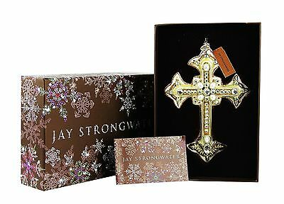 Jay Strongwater Medieval Cross Glass Christmas Ornament Swarovski New Box