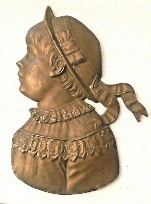 Antique Victorian Child Heavy Brass Wall Art Plaque Little Girl Boy Baby Ruth