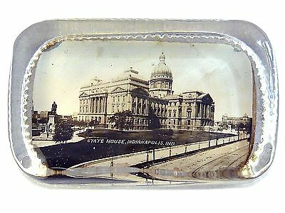 """Paperweight """"State House, Indianapolis, Ind"""" A. C. Bosselman & Co Picture Glass"""