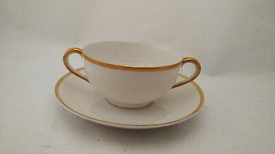 Noritake Nippon Gold & White Cream Soup Cup & Saucer Set