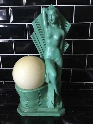 Art Deco style nude lady lamp ..chalkware reproduction with vintage globe shade