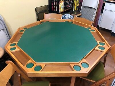 Octagonal Solid Wood Folding Poker Table And 8 Costom Made Folding Chairs