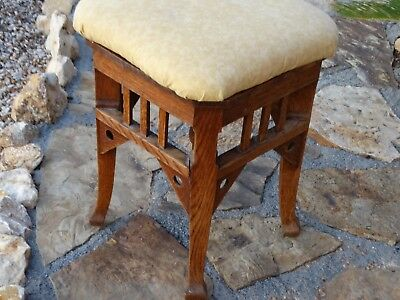 19975 Antique 1900s MISSION OAK Vanity STOOL Operators Chair  ~  Stickley style