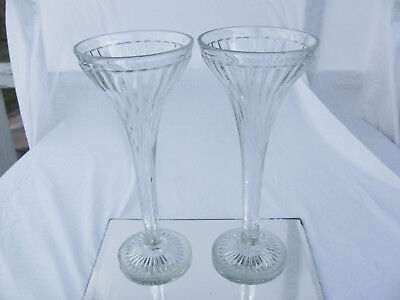 """Vintage Pair Jewelry Store Show Case Glass Pillars Shelf Supports 12"""" Tall"""