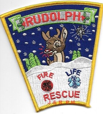 """Rudolph  Fire - Rescue, Wisconsin (4"""" x 4"""" size)  fire patch"""