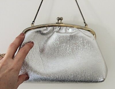 Vintage Silver Foil Faux Leather Prom Wedding Evening Handbag Clutch Purse GC