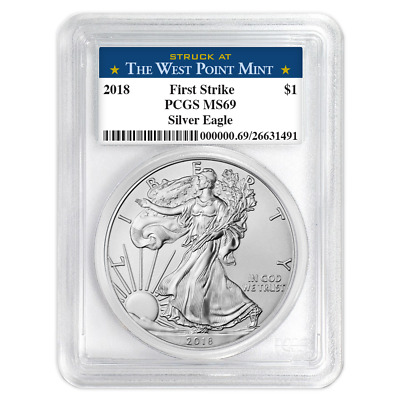 2018 $1 American Silver Eagle PCGS MS69 West Point First Strike Label