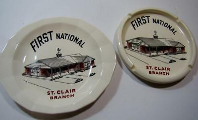 Vtg Lot First National Bank St. Clair Branch Plate Ashtray Harkerware Pottery