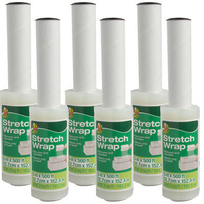 """6ct Duck Brand Stretch Wrap 5"""" Rolls With Handle For Moving Packing 80 Gauge"""