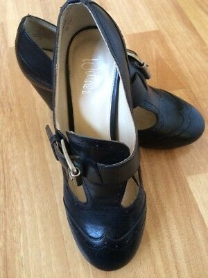 WITTNER Women's Size 36 Walter Mary Jane Shoes Black Leather Mid Heels Buckles