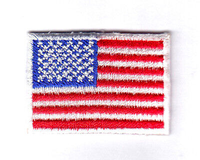 AMERICAN FLAG w/WHITE BORDER, SMALL - USA - PATRIOTIC/Iron On Embroidered Patch