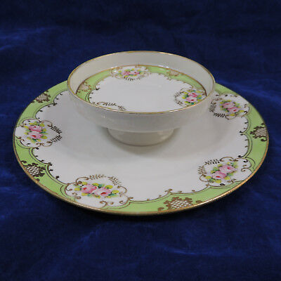 "Nipon Tiered Plate Pink Roses Green Trim Gold Gilding 9"" & 4 3/4"""