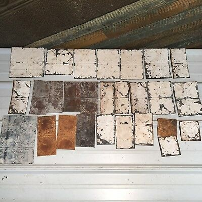 "25pc Craft Lot 8"" by 4""- Antique Ceiling Tin Metal Reclaimed Salvage Art"