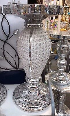 NEW MOSAIC Silver Mirrored Side Table Modern Plant Stands Bed Sparkle Romany Uk