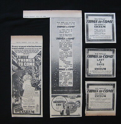 THINGS TO COME 1936 Original movie advertising Raymond Massey H.G. Wells sci-fi