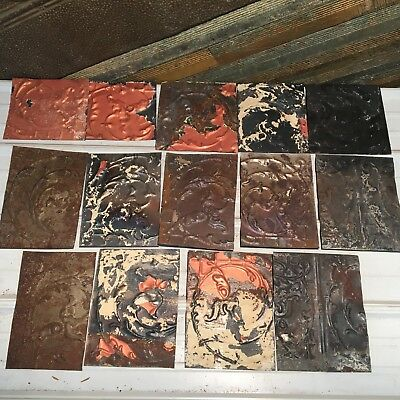 "15pc Craft Lot 11"" by 7.5""- Antique Ceiling Tin Metal Reclaimed Salvage Art"
