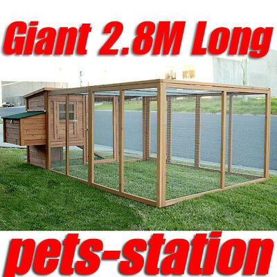 GIANT Chicken Coop Rabbit Hutch Hen Chook House with extension run X-Large