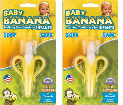 2 Pack of Baby Banana Bendable Teether Teething Training Toothbrush for Infant
