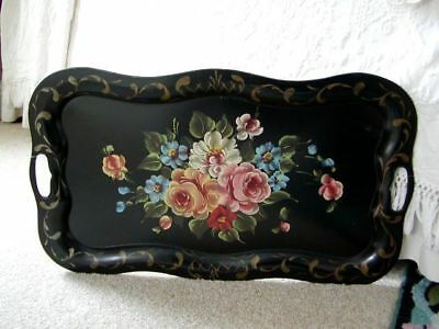 Tole Toleware Tin Tray Black Roses Flowers Chippendale Vintage Handpainted