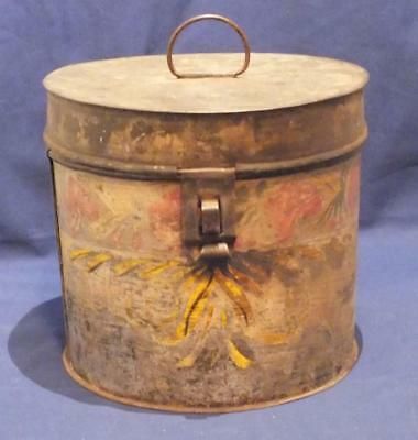 ANTIQUE 19TH c. PAINTED TIN CANISTER, HINGED LID PRIMITIVE TOLEWARE