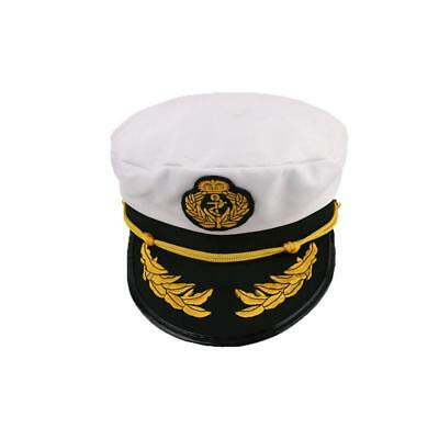 Captain Hat Navy Cap White Gold Black Captains Marine Costume Accessory JA