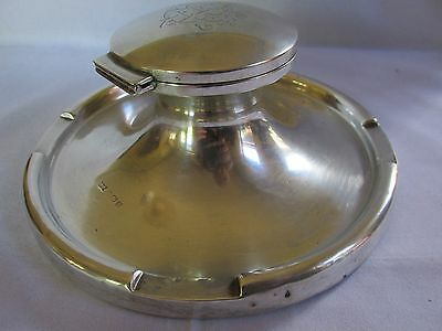 Large Antique Sterling Silver Inkwell Walker & Hall Gift to Valued Colleague