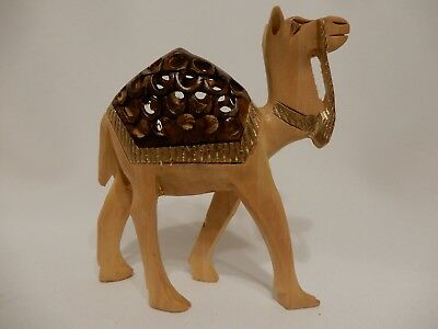 Wooden Camel Statue Figurine Hand Carved with Baby Camel Inside 4 Inches High