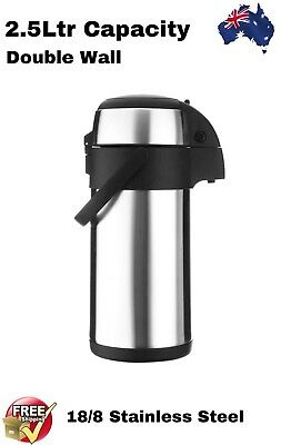 Airpot Stainless Steel Insulated Vacuum Flask Air Pump Pot Hot & Cold 2.5Ltr