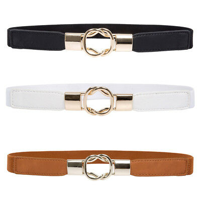 Women Ladies Narrow Elastic Stretch Waist Belt Band Metal Buckle Dress Waistband