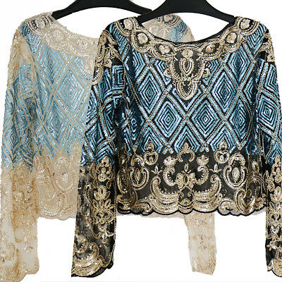 2018 Bling Top Mesh Long Sleeve Floral Embroidery Sequin Beading Shirt Blouse