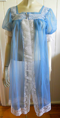 Tricozette vintage 1960s powder blue sheer lacy brunch coat size 12 (SW)