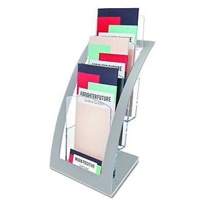 deflecto 693645 Three-Tier Leaflet Holder, 6 3/4w x 6 15/16d x 13 5/16h, Silver