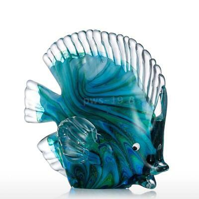 NEW Blue Tropical Fish Glass Sculpture Home Decoration Glass Gift Statues C0C8